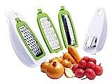 Mehrzweckreibe mit 4 auswechselbaren Klingen - Multireibe mit Auffangbehälter - Gemüsereibe - Feinreibe - Allzweckreibe - Käse Reibe - Hobel - Käsereibe - Küchenreibe