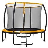 SONGMICS Trampolin Ø 305 cm, rundes Gartentrampolin mit Sicherheitsnetz, mit Leiter und gepolsterten Stangen, Sicherheitsabdeckung, TÜV Rheinland getestet, sicher, schwarz-orange STR102O01