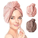 RenFox Haarturban, 2 StückTurban Handtuch mit Knopf, Turban Haartrockentuch, Schnelltrocknend Mikrofaser Handtuch für Kopf und Lange Haare