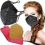 Cussi - Wiederverwendbare Hygiene-Gesichtsmaske, zertifiziert UNE 0065:20 und BFE zertifiziert 99 %, waschbar bis zu 20 Zyklen – Packung mit 2 Masken, Etui, extra Filter (Stern, schwarz)