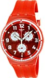 Swatch Damen-Armbanduhr Originals susr403 rot Silikon Swiss Quarz