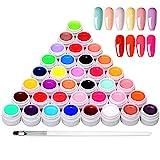 Anself 36 Farben UV farbgel, UV Gel Set gelfarben für nägel, Nail Art Farbgel Set, gel nägel farben, Nagellack Nail Polish für Nail Art Nagel-Design
