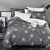 KEAYOO Bettwäsche 135x200 Grau Weiß Wendebettwäsche Pusteblume Muster 100% Baumwolle Soft Touch mit Reißverschluss 2teilig Set