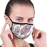 NA Staubgesichtsmaske fr Staubmundmaske Nahtloses Muster mit bunten abstrakten Federn Gesichtsmasken Abdeckung Anti-Staub-Maske
