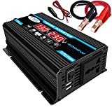 YHDQ Car Power Inverter Inverter 4000W DC 12V AC 110 / 220V-Auto-LKW/RV-Konverter mit LED-Anzeige Dual USB Ports und AC Car Power Inverter (Color : Black-110 v)