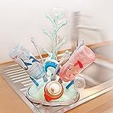 Baby Trockenständer - VOGELBAUM - mit abnehmbarer Schale für kleine Glas-Flaschen, Babyflaschen und Zubehör