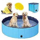 Hundepool für Große & kleine Hunde, Faltbare Schwimmbecken für Kinder 80cm/120cm/160cm, Verdicktes Baby Badewanne Wasserbecken, rutschfest Planschbecken mit Mikrofaser Handtuch und Hundebürste - 80cm