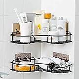 berhaya Duschregal,Duschorganisators Aufbewahrung Eckregal mit rostfreiem Edelstahlkleber, Duschwagen für Küchen, Badezimmerregale und Badezimmerzubehör