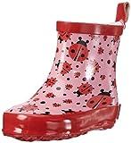 Playshoes Kinder Halbschaft-Gummistiefel aus Naturkautschuk, trendige Unisex Regenstiefel mit Reflektoren, mit Käfer-Muster, Pink (original 900), 20