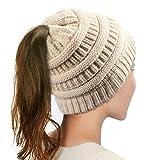 Dafunna Damen Winter Strickmütze mit Bommel Bommelmütze Beanie Damen Ski Mütze Wollmütze Warm mit Zopfmuster Ohrenschutz, Beige