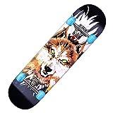 Skateboards Pro 78,7 x 20,3 cm Doppel-Kick-Deck, komplettes Skateboard für Anfänger, Mädchen, Jungen, Kinder, Erwachsene, Teenager, 7-lagiges kanadisches Ahorn-Cruiser-Trickholz (schwarz)