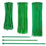 CKJ 200 Stück Grüne Kabelbinder Set Selbstsichernder Mehrzweck-Kabelbinder Hochwertiger Nylon-UV-Beständig Kabelbinder (20cm, 25cm, 30cm)