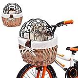 Rainai Fahrradkorb aus Weidenkorb, Verkehrssicher, einfach zu montieren, Ihr Haustier wird absolut sicher sein, sodass Sie sorgenfrei fahren können, 30 x 25 x 30 cm