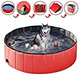 Hundepool für Große Hunde Kleine Hunde Faltbarer 100 cm,Haustier Pool Planschbecken, Klappbares Haustier-Duschbecken Mit PVC-rutschfest Schwimmen Pool für Kinder