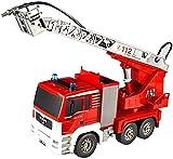 Red Water Jet Feuerwehrauto Modell Leuchtendes Geschichtenerzählen Autospielzeug Kindermusik Feuerwehrauto Spielzeug, mit Lichtern, Geräuschen und Wasserstrahlfunktion Ideales Bildungsgeschenk, Klei