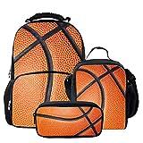 chaqlin Kühlhockey-Schulranzen-Set für Mädchen, Kinder, Rucksack mit Wasserflaschenhalter, Büchertaschen, Elementar, Schüler, kleine Lunchtasche für Teenager und Erwachsene Mehrfarbig Basketball Set-5 Einheitsgröße