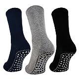 sockenkauf24 3 oder 6 Paar Damen & Herren ABS Socken PREMIUM Anti Rutsch Socken Stoppersocken Noppensocken Schwarz Blau Grau - 8600 (43-46, 3 Paar-Schwarz/Bl/Gr)