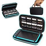 Orzly 2DS XL Case, Tasche für das Neu Nintendo 2DS XL - Aufbewahrungstasche / - Hartschalen Case/Cover/Hülle/Schutzhülle für die New Nintendo 2DS XL Konsole & Accesoires - BLAU auf Schwarz
