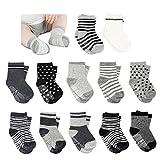 Amteker 12 Paar Baby Socken, Anti Rutsch Socken Baby aus Baumwolle, 10-36 Monate Baby Mädchen und jungen Baby ABS Socken Kinder, little, Schwarz