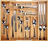 Harcas Besteckkasten fur Schubladen aus Bambus. Schubladeneinsatz mit 6-8 Fächern. Großer, Ausziehbarer Küchenorganizer