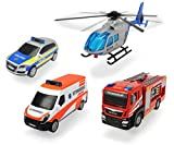 Dickie Toys 203715009 - Fahrzeug Set 'SOS', Polizeiauto, Feuerwehrauto, Krankenwagen, Hubschrauber, 13-31cm