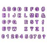 Goldyqin Ausstechformen, Alphabet, Zahlen, Buchstaben, Fondant, Kuchendekoration, Keksausstechform, 40 Stück, Violett