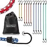 emflex GS-MAX Profi Spanngummi Set [12 Stück] inkl. Tasche – MARKTINNOVATION – Expander mit Haken & voll-integrierten Kratzschutz-Kappen – Universal Gepäckspanner