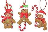 Creation Gross 3X Baumschmuck Weihnachten, Lebkuchenmann mit Zuckerstange und Glitzer zum Hängen H.: 13cm
