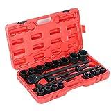 20-teilige Steckschlüsselsatz, 3/4 Zoll Cr-mo Steel Schlagschrauber Nüsse Set Impact Socket Set mit Kunststoff-Koffer für Auto, LKW, Reparatur-Werkzeug-Set