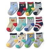 Yafane 12 Paar Baby ABS Antirutsch Socken Anti-Rutsch Rutschfest Kleinkinder Babysocken für Baby Jungen 3-5 Jahre