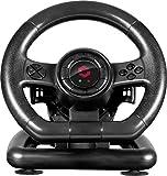 Speedlink BLACK BOLT Racing Wheel USB - Gaming Lenkrad für PC / Computer (Gas- und Bremse-Pedale, Schaltwippen - Vibration, 180° Lenkbereich) schwarz