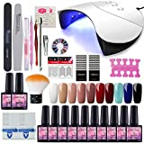 Saint-Acior 36W UV +LED Nagellampe Starterset 10x Gel Lacken für UV Nageldesign Gelnägel Nagelset...