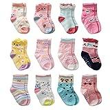 Cottock  Kleinkind Mädchen Rutschfeste Socken Nette Baumwolle mit Griffen, Baby Mädchen Anti-Rutsch-Socken , 1-3 Jahre, 12 Paar