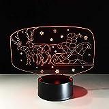 Rentier Schlitten Lampe 7 Farbe 3D Visual Led Weihnachtsmann Nachtlicht Kinder Usb Auto Tischlampe Schlaf Beleuchtung Weihnachtsgeschenk