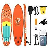 Stand Up Paddling Board, SUP Board 305/320CM, bis 150KG, Stand Up Paddle Aufblasbar Set, SUP Komplettes Zubehör Paddel, Rucksack, Pumpe, wasserdichte Tasche, Surfboard für Erwachsene Anfänger Kinder