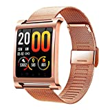 Fitness Tracker and Blood Pressure HR Monitor - Upgraded Activity Tracker Watch with Heart Rate Color Display IP68 Pedometer Calorie Counter, Gold Steel