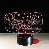 Optische Täuschung Lampe Rentier Schlitten Lampe 7 Farbe 3D Visual Led Santa Claus Nachtlicht Kinder USB Auto Tischlampe Schlaf Beleuchtung Weihnachtsgeschenk