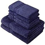 Pinzon by Amazon Handtuchset aus Baumwolle, Marineblau, 2 Bade- und 4 Handtücher, 600g/m²