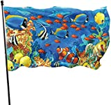 Oaqueen Flagge/Fahne, Dolphin Sea Seabed Fish Corals Underwater Ocean Flag: 3x5 FT Flag Tough The Strongest, Longest Lasting Flag National Flag Outdoor Flags