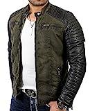 Redbridge Red Bridge Jacke Herren Biker Kunstleder Lederjacke Jacket mit gesteppten Bereichen (XL, Khaki)