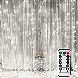 smilecstar LED USB Lichtervorhang 3m x 3m 300 LEDs Lichterkettenvorhang mit 8 Modi Lichterkette Gardine für Partydekoration dunkle Innenbeleuchtung Weihnachten Deko Weiß [Energieklasse A +++]-Weiß