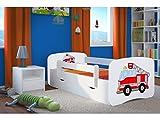 Kinderbett Jugendbett 70x140 80x160 80x180 Weiß mit Rausfallschutz Schublade und Lattenrost Kinderbetten für Mädchen und Junge - Feuerwehr 180 cm