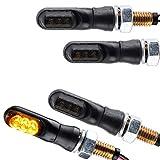 4x Motorrad LED Miniblinker Spark schwarz getönt Blinker Komplett Set vorne hinten