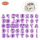 Fondant Ausstecher Set,40 Pack Kunststoff Ausstechform Buchstaben Zahlen und Satzzeichen Alphabet Backzubehör für Tortendeko