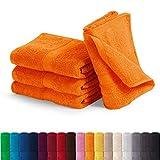 EllaTex Handtuch-Set aus Serie Paris 0040072 100% Baumwolle 500 Gramm/m², Farbe:Orange, Größe:4er Packung 50 x 100cm - Handtücher