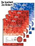 Landré A4 3 karierte und 2 linierte Blöcke, 80 Blatt, 5er Pack, rot, blau