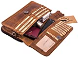Hill Burry Leder Umhängetasche | Reisebrieftasche - Travel Wallet aus hochwertigem echtem Rindsleder | Dokumententasche/Organizer - Handgelenktasche für Damen & Herren (Braun)