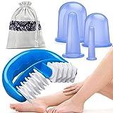 HBselect Silikon Schröpfen Therapie Set Cellulite Entferner Massagegerät mit einer Massage-Rolle und 4 Silikon Vacuum Tassen Schröpfgläser Anti Aging für Gesicht ganzen Körper (6 in 1 Set)