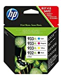 HP 932XL/933XL Gelb Original Druckerpatronen mit hoher Reichweite für HP OfficeJet 7510, 7612, 7110, 6700, 6100, 6600, Cyan/Magenta/Gelb/Schwarz, XL Kombipack
