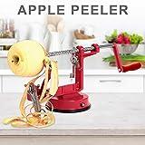 Apfelschäler Edelstahl Handkurbelschäler Obstschneider Kartoffelschneider Schälmaschine Klingen verstellbar 26x13x10,2cm